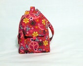 18-inch doll backpack, doll bag - Pink Peace and Flowers