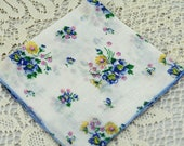 Vintage Hankie Tiny Blue and Pink Flowers #D-29