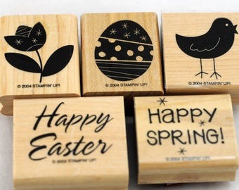 "Mint Retired Stampin Up Stamp Set ""Happy Easter, Happy Spring"""