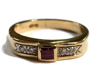 Antique 14k Gold Diamond Ruby Red Ring Size 7