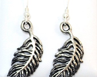 Pewter Feather Charms on Sterling Silver Ear Wire Dangle Earrings - 0156