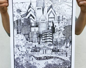Philadelphia Skyline Illustration - Paul Carpenter Art - 16 x 20 Open Edition Screen Print