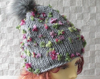 Knitted Hat For Womens, Gray Pom Pom Hat - Soft Winter Hat - Warm Winter Hat - Wool Hat - Womens' Winter Beanie