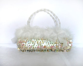 Vintage wedding purse - sequin and feather purse - 1950s sequin and bead purse - vintage feather purse - white feather purse
