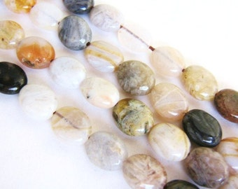 8x10mm Flat Oval Bamboo Agate Beads, Brown Black White Gemstone 15.5 Inch Strand