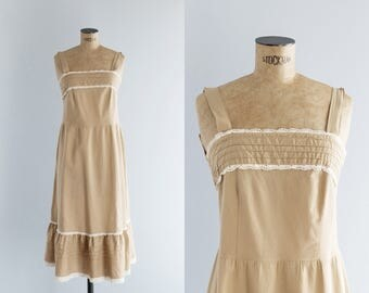 1970s Dress - Vintage 70s Light Brown & Ivory Cotton Pinafore Dress - Iced Latte Dress