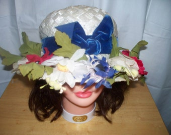 Vintage Floral White Straw Hat  - Excellent Condition - Blue Velvet Ribbon - Designed by Sally Victor for Sally V - New York