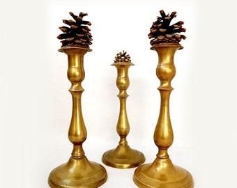 SALE Vintage set of brass candlestick holders,Brass candleholders set of 3,Mid Century Candlesticks,Mid Century Modern