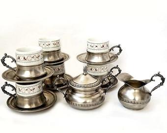 SALE Espresso Coffee Serving Set ,Vintage Italian Serving Set of 6 cups, vintage retrò tableware.
