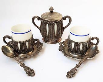 Italian Espresso Coffee Serving Set ,Silver Plated Coffee Serving Set ,Vintage Italian espresso cups set,retrò tableware.