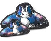 White Galaxy Bat Pillow, Plush Pillow, Stuffed Animal