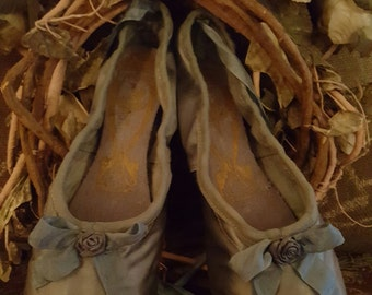 RESERVED FOR KAREN Vintage Ballet Pointe Shoes by Freed Stunning Shade of Vintage Turquoise Blue-Green~Shabby & Chic