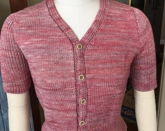 Vintage Classic 1950's Style Hand Knit  Cardigan Sweater Retro, Boho, Hollywood