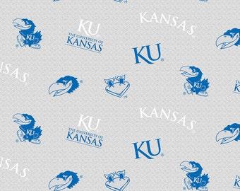 Licensed NCAA Kansas University Jay-hawks Grey Fleece Fabric 60'' Wide Sold By The Yard