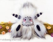 """Yeti artist bear, fluffy white and black faux fur monster plush, snow yeti, cute critter, abominable snowman, monster toy, """"Snowflake"""""""