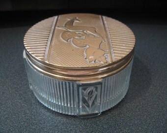 Vintage Pressed Glass Vanity Jar With Deer Design