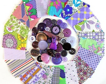 Vintage Purple Fabric Scraps and Buttons Inspiration Kit*Purple Button Lot*Purple Cotton Fabric Swatches