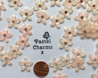 Pack of 10 mixed pink pearly sparkle flower embellishments