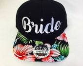 Custom Bride Embroidery Black and White Flat Bill Floral Hawaiian Print Hat Snapback Flower Hibiscus