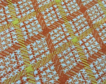 Polyester Double Knit  Orange Yellow Plaid