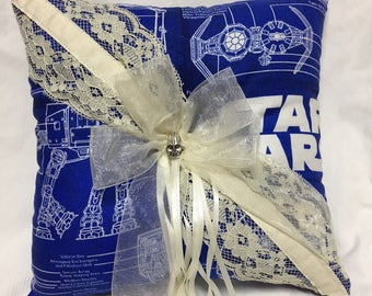 Custom Space Schematics Blueprint in Blue Ring Bearer Pillow
