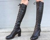 des années 1970 cordonnier Chelsea en cuir marron lacets bottes plate-forme bottes - bottes gogo taille 7 - des années 1970 en cuir - bottines à lacets - dentelle-up vont aller bottes