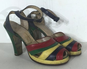 1940s multicolored leather platform sandals - 1940s platfrom shoes - size 3 - 1940s platform shoe - 1940s platforms - 1940s platform sandals