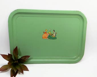 Vintage Metal Tray 1950s Jadeite  Green with Adorable Graphics Of Ladies Tea Party, Serving Tray, Metal Kitchen Tray, Vintage Kitchen Decor.