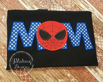 Super Hero Mom Custom embroidered Spiderman Inspired Birthday Family Shirt 785a