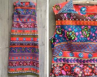 Vintage dress | 1970s mod psychedelic Berkshire B-Tween sleeveless maxi dress