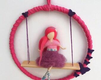 Girl Mobile,Ballerina doll,Waldorf doll,ballet dancer,needle felting,Gift for Dancer