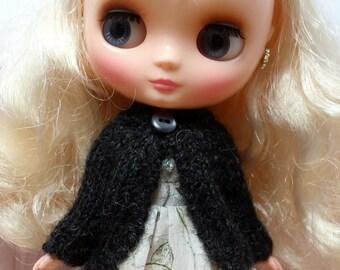 BLYTHE Middie doll hand knit luxury alpaca cardigan sweater - charcoal black