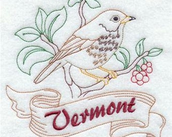 Vermont State Bird Hermit Thrush Redwork Embroidered Towel   Flour Sack Towel   Linen Towel   Dish Towel   Kitchen Towel   Embroidery