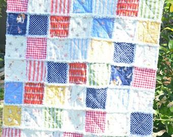 Baby Boy Crib Sized Rag Quilt, Sarah Jane Studios Children At Play