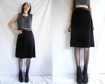 70's goth black cotton velvet A line knee length skirt