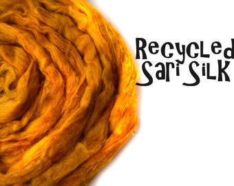 Recycled Sari Silk - gold - yellow 50g / 1.75oz