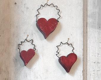 Wood Hanging Hearts - Set of 3