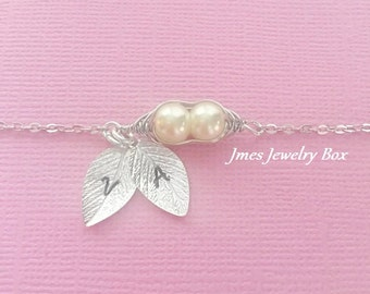 Two peas in a pod bracelet with hand stamped initial leaves