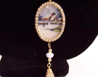 Victorian CHRISTMAS NECKLACE - Vintage Church Print - Vintage AB Crystal Drops/Vintage Swarovski Crystals