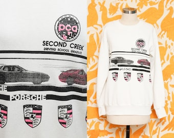 Porsche Sweater // White Hipster Sweatshirt // 1980s Second Creek Driving School Unisex Acrylic Novelty Graphic Print Collectible Size Small