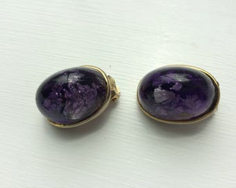 Vintage amethyst foil glass dichroic clip 60s earrings
