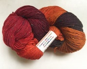 40% Off Hand Dyed Sock Merino Fingering Yarn HPKY Donegal Tweed Brown Rust Gold 461 Yards