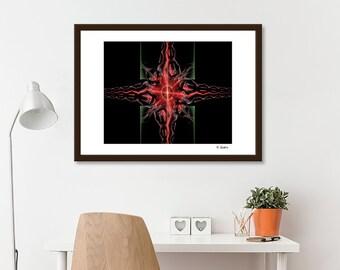 fractal art, computer geek gift, minimalist art, modern art, sacred geometry, red art, cool wall art, red and black art, abstract art print