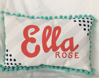 Custom listing for Natalie//Baby pillow in light gray stripes with bright coral personalized name.