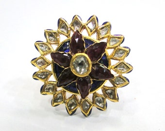 Vintage antique solid 20k Gold jewelry Precious Gemstones Enamel Work Ring