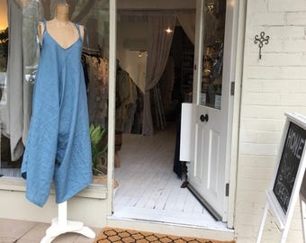 Womens Blue Linen Lover Overalls.Size 8 to 16 free size.