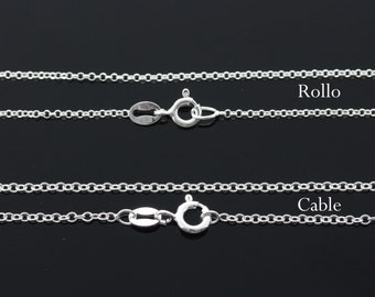 "Sterling silver Chian, silver rollo chain, sterling silver cable chain, 16', 18', 20"", 22"", 24"" availble."