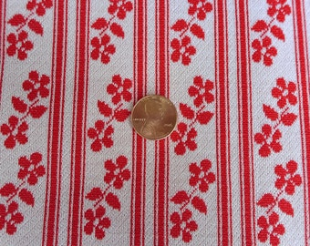 2 Yards Floral Stripe Polyester Fabric Vintage Red and White Daisy and Stripe Medium Weight Stretch 63 x72