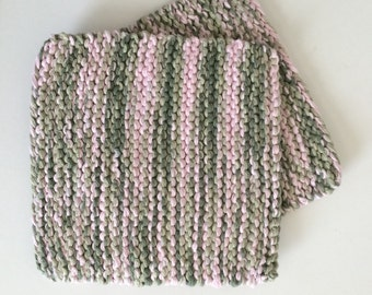 Hand Knit Pot Holders - Set of 2 - Hot Pads - Pink Camo