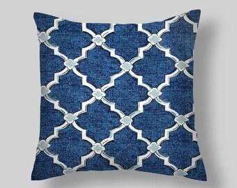 Blue  Pillow Cover, Decorative Pillows, Denim Throw Pillow, Navy pillow ,Accent Pillows ,Throw Pillows, Home Decor, Home and Living Navy